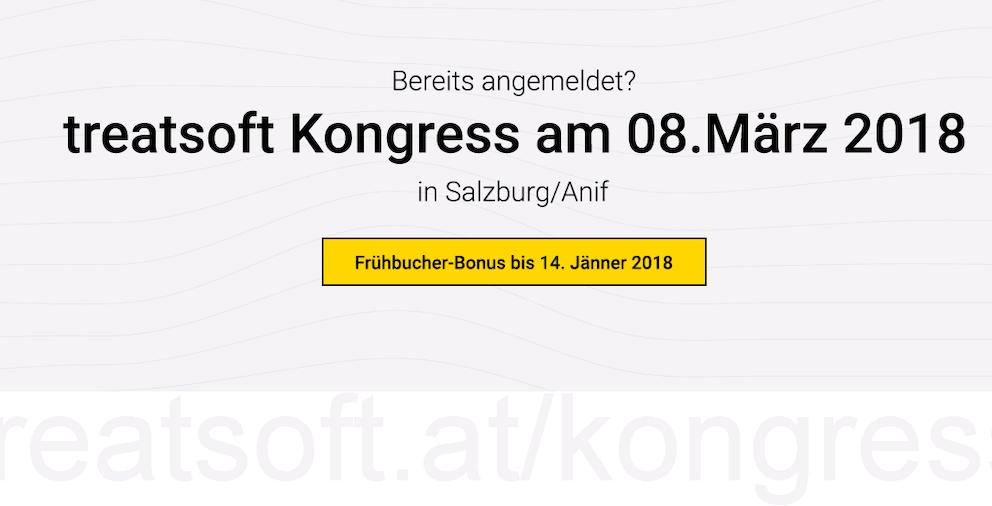 Werbebanner für den treatsoft Kongress in Salzburg-Anif