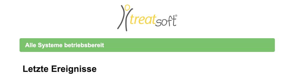 Screenshot der treatsoft Statusseite